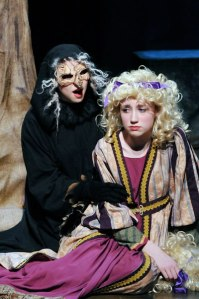 The Witch (Sean Ben-Zvi) appeals to Rapunzel (Gwyneth Casey). Studio East 2013.