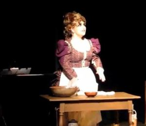 Syd Coan as Mrs. Lovett, Sweeney Todd at Studio East.