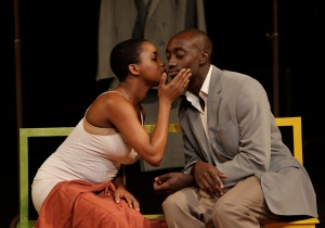 (l to r ) Nonhlanhla Kheswa and Ivanno Jeremiah in Peter Brook's The Suit. Photo: Pascal Victor, ArtcomArt.