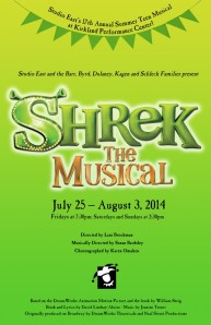 "Studio East's 17th Annual Summer Teen Musical, ""Shrek the Musical""."